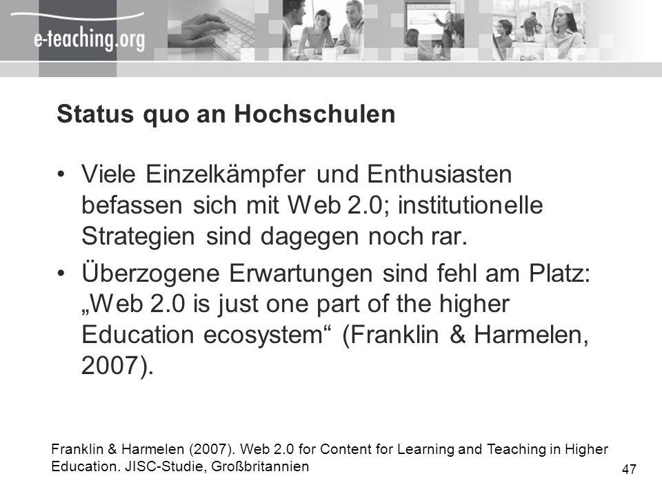 Status quo an Hochschulen