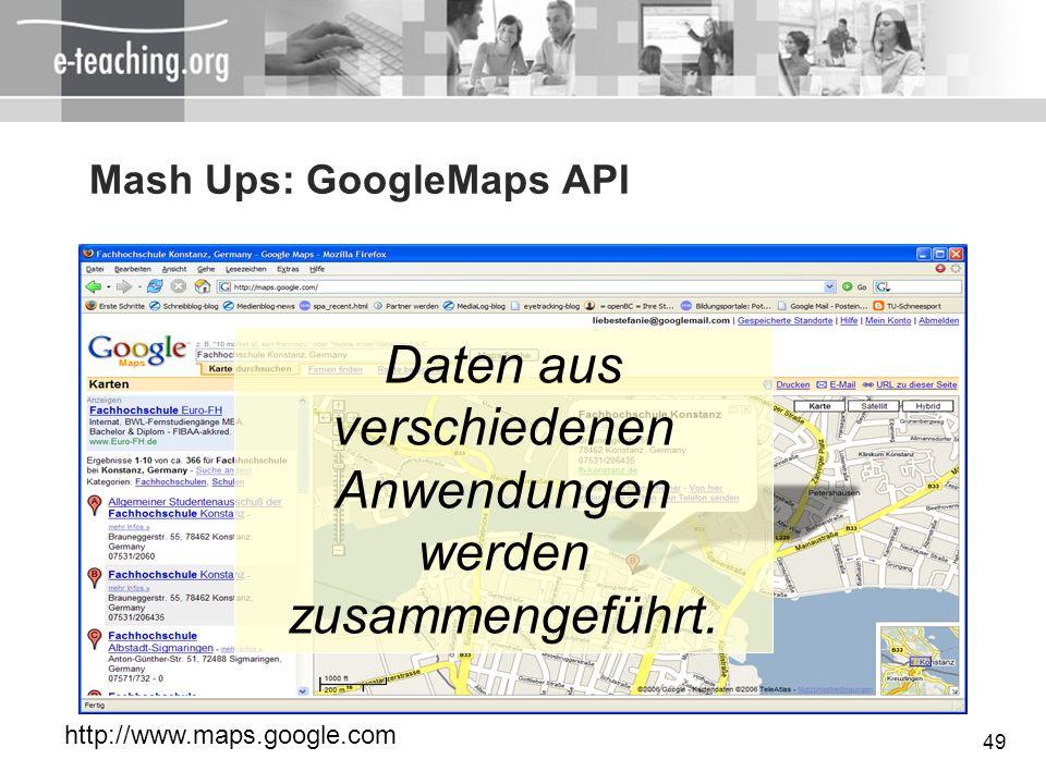 Mash Ups: GoogleMaps API