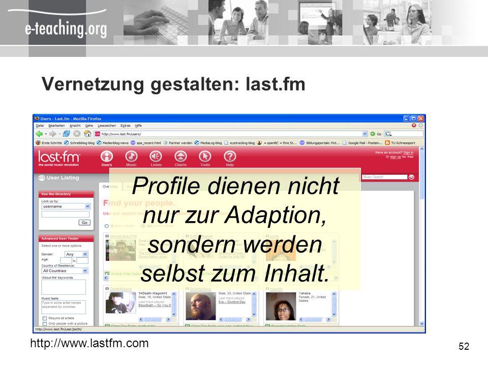 Vernetzung gestalten: last.fm