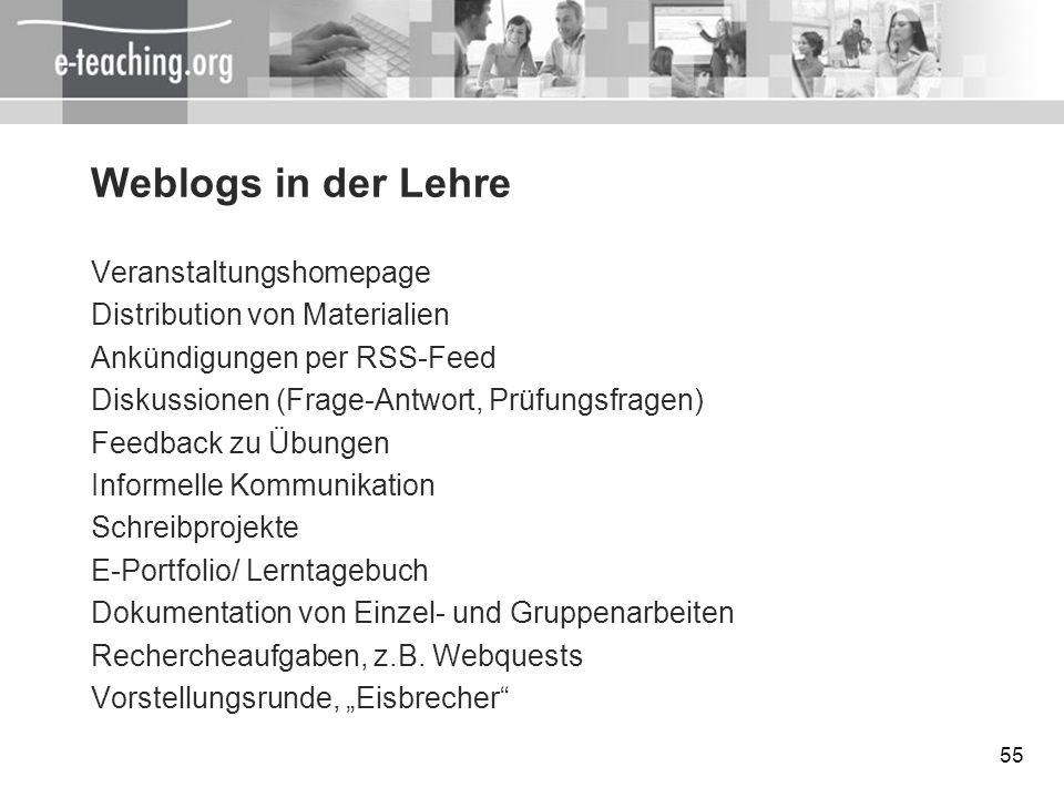 Weblogs in der Lehre Veranstaltungshomepage