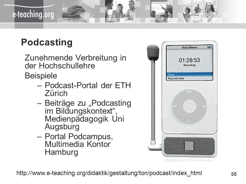 Podcasting Zunehmende Verbreitung in der Hochschullehre Beispiele
