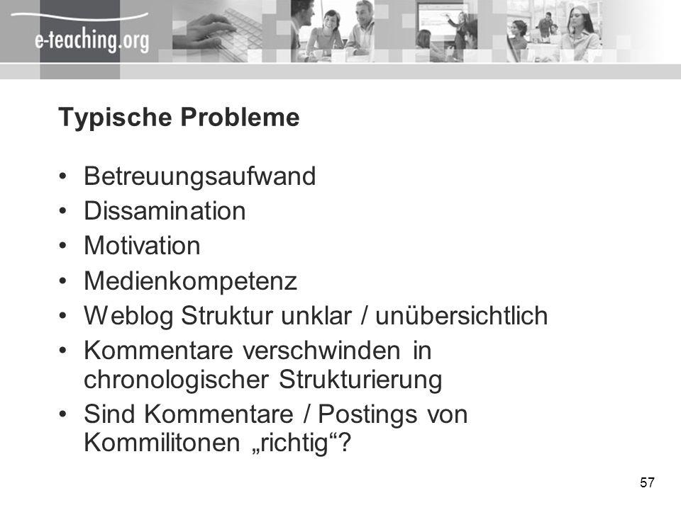 Typische ProblemeBetreuungsaufwand. Dissamination. Motivation. Medienkompetenz. Weblog Struktur unklar / unübersichtlich.