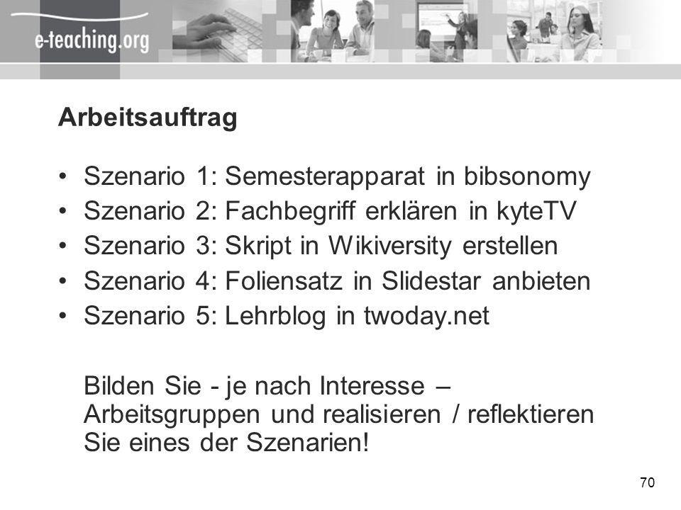 Arbeitsauftrag Szenario 1: Semesterapparat in bibsonomy. Szenario 2: Fachbegriff erklären in kyteTV.