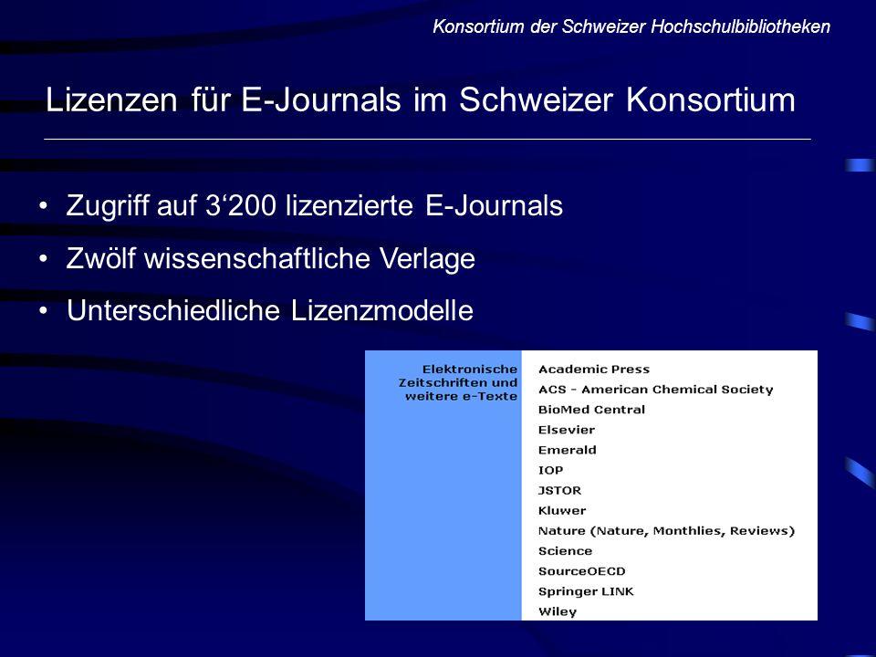 Lizenzen für E-Journals im Schweizer Konsortium