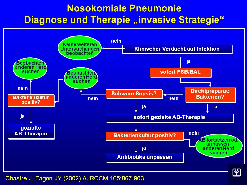 "Nosokomiale Pneumonie Diagnose und Therapie ""invasive Strategie"