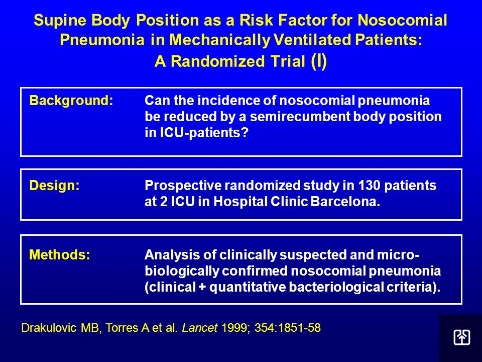 Supine Body Position as a Risk Factor for Nosocomial Pneumonia in Mechanically Ventilated Patients: A Randomized Trial (I)