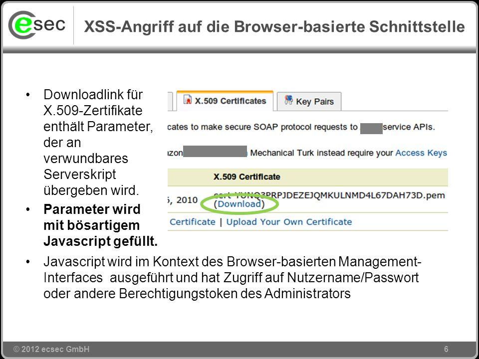 XSS-Angriff auf die Browser-basierte Schnittstelle