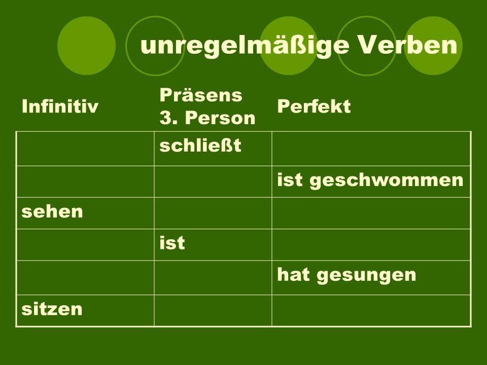 unregelmäßige Verben Infinitiv Präsens 3. Person Perfekt schließt