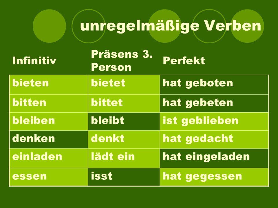 unregelmäßige Verben Infinitiv Präsens 3. Person Perfekt bieten bietet