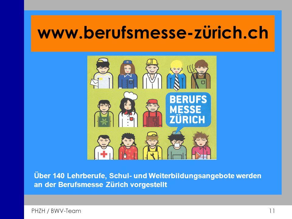 www.berufsmesse-zürich.ch Über 140 Lehrberufe, Schul- und Weiterbildungsangebote werden an der Berufsmesse Zürich vorgestellt.