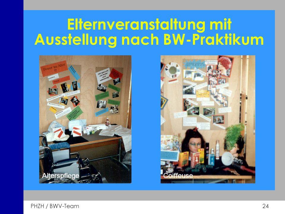 Elternveranstaltung mit Ausstellung nach BW-Praktikum
