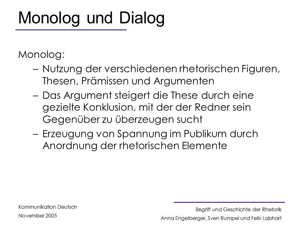 Monolog und Dialog Monolog:
