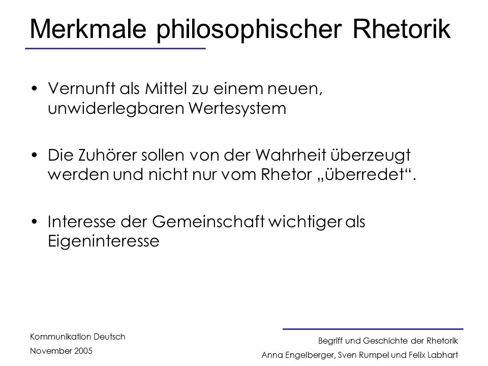 Merkmale philosophischer Rhetorik