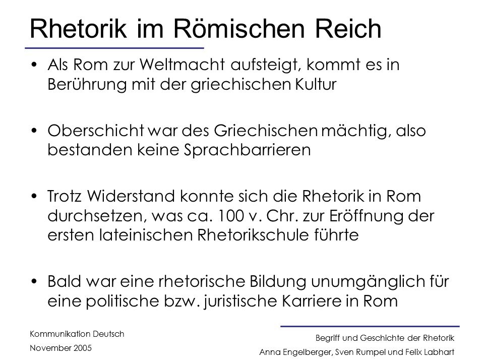 Rhetorik im Römischen Reich