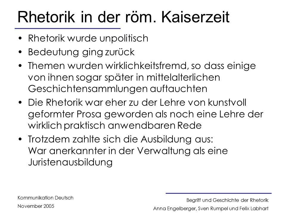 Rhetorik in der röm. Kaiserzeit