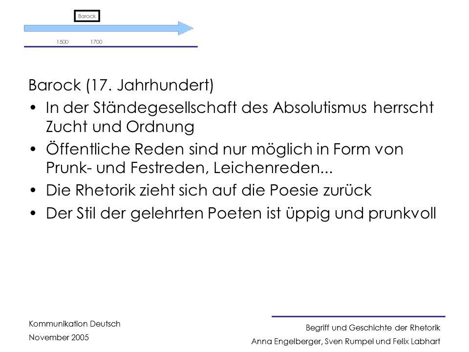 Barock (17. Jahrhundert) In der Ständegesellschaft des Absolutismus herrscht Zucht und Ordnung.