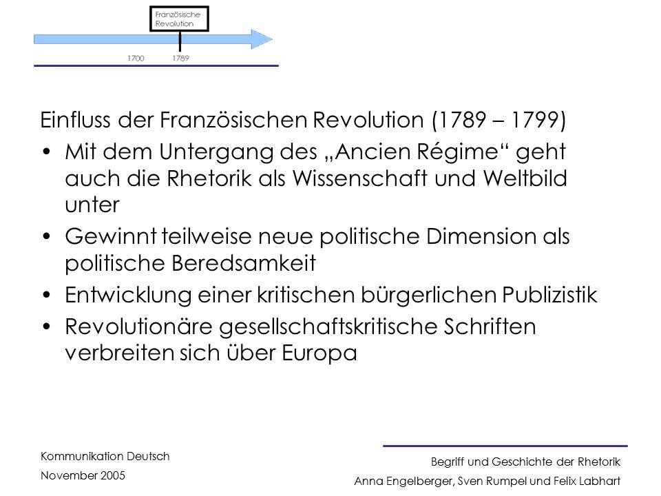 Einfluss der Französischen Revolution (1789 – 1799)