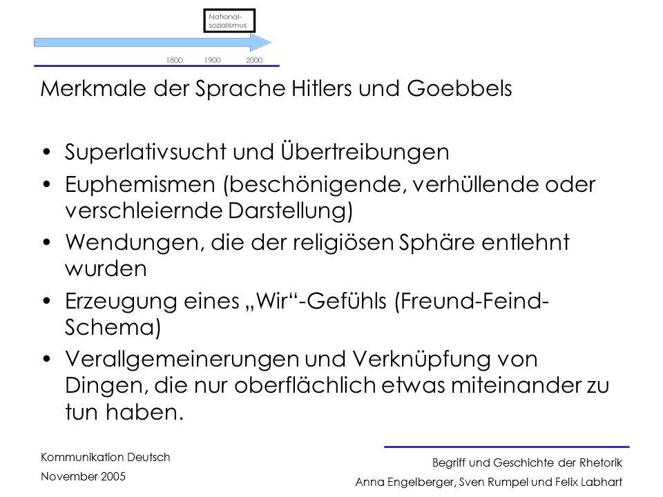 Merkmale der Sprache Hitlers und Goebbels