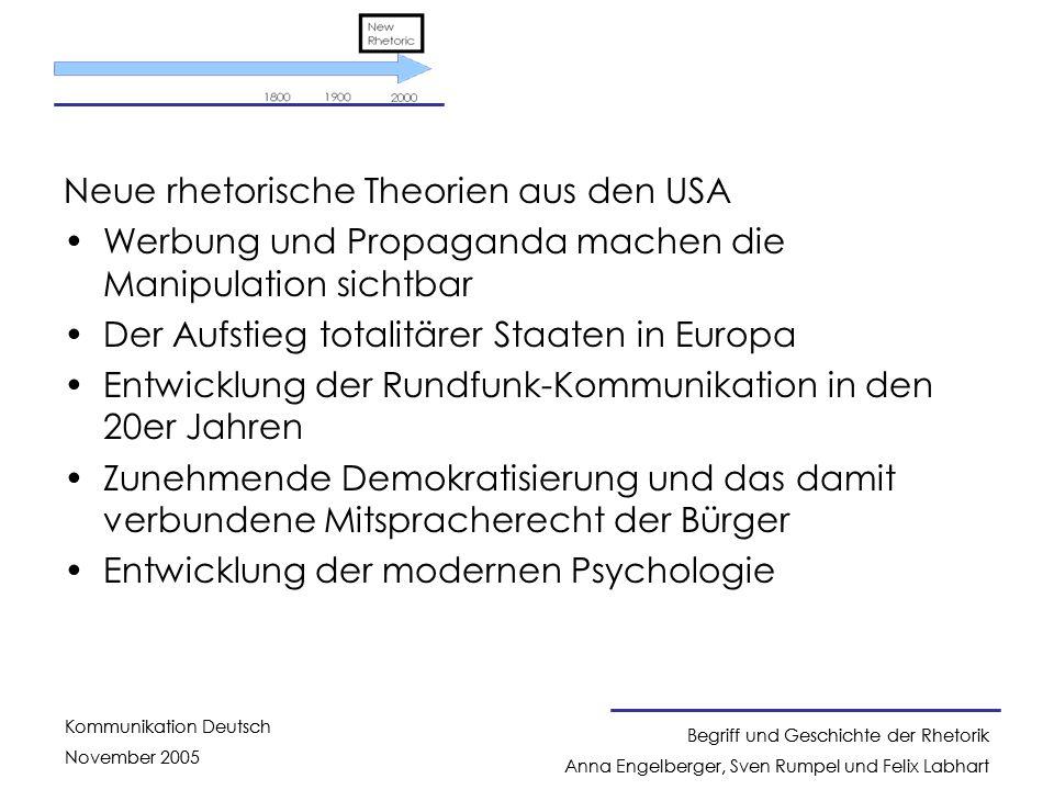 Neue rhetorische Theorien aus den USA