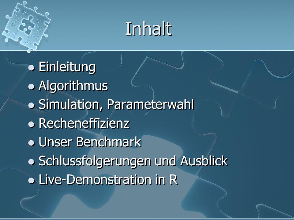 Inhalt Einleitung Algorithmus Simulation, Parameterwahl