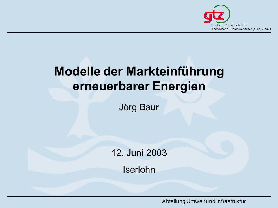 Modelle der Markteinführung erneuerbarer Energien