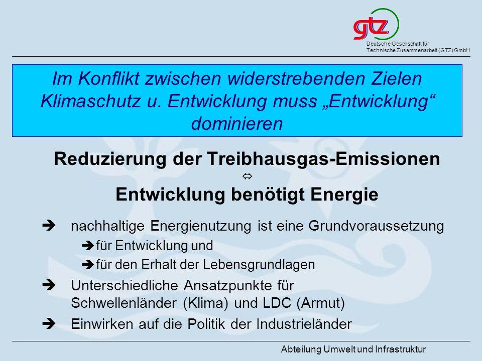 Reduzierung der Treibhausgas-Emissionen Entwicklung benötigt Energie
