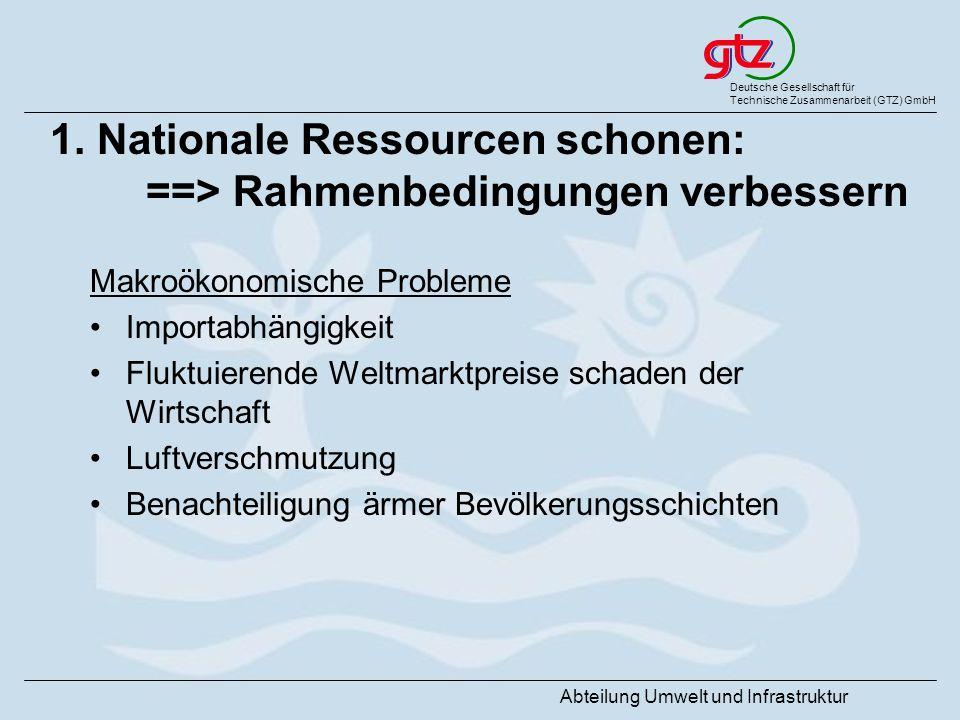 1. Nationale Ressourcen schonen: ==> Rahmenbedingungen verbessern