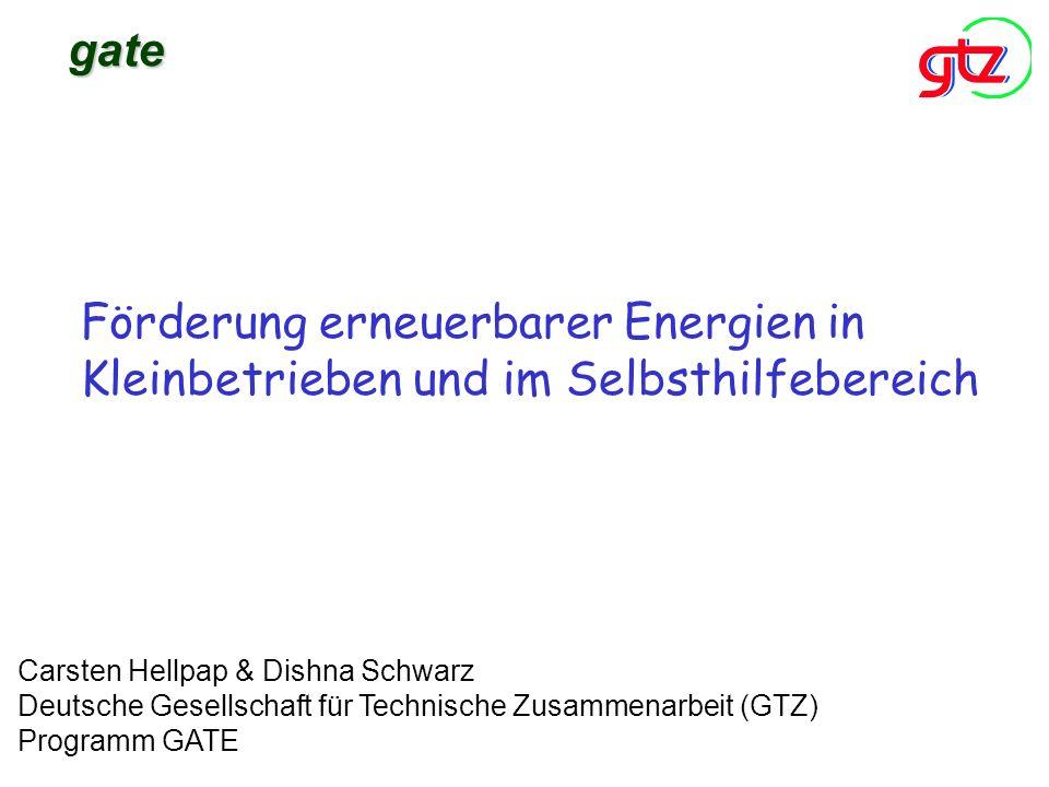gateFörderung erneuerbarer Energien in Kleinbetrieben und im Selbsthilfebereich.