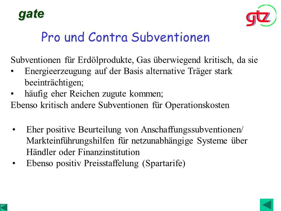Pro und Contra Subventionen