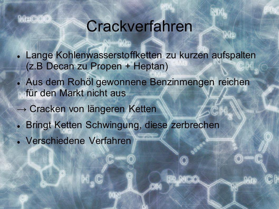 Crackverfahren Lange Kohlenwasserstoffketten zu kurzen aufspalten (z.B Decan zu Propen + Heptan)