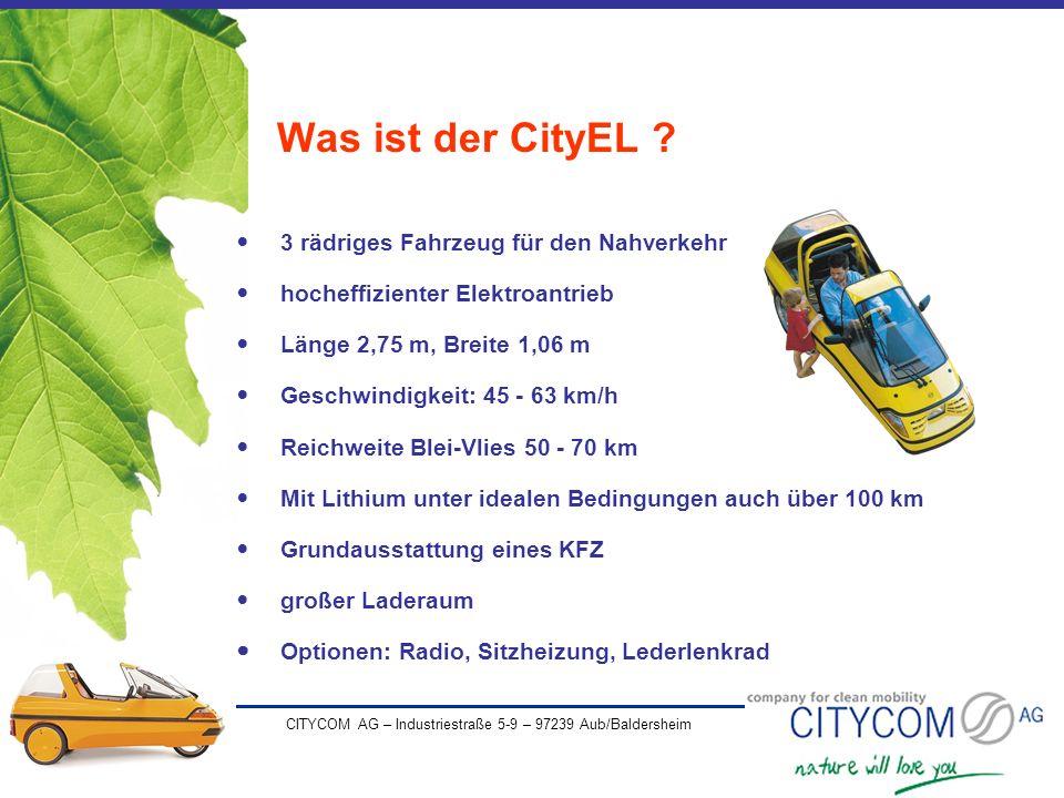 Was ist der CityEL 3 rädriges Fahrzeug für den Nahverkehr