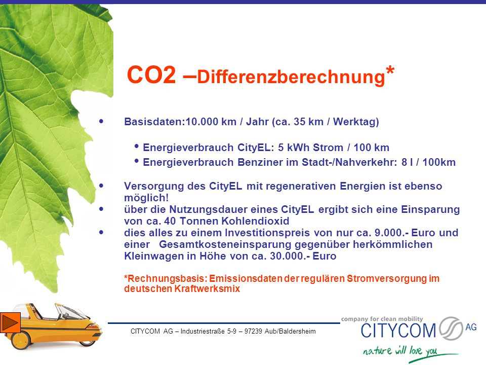 CO2 –Differenzberechnung*