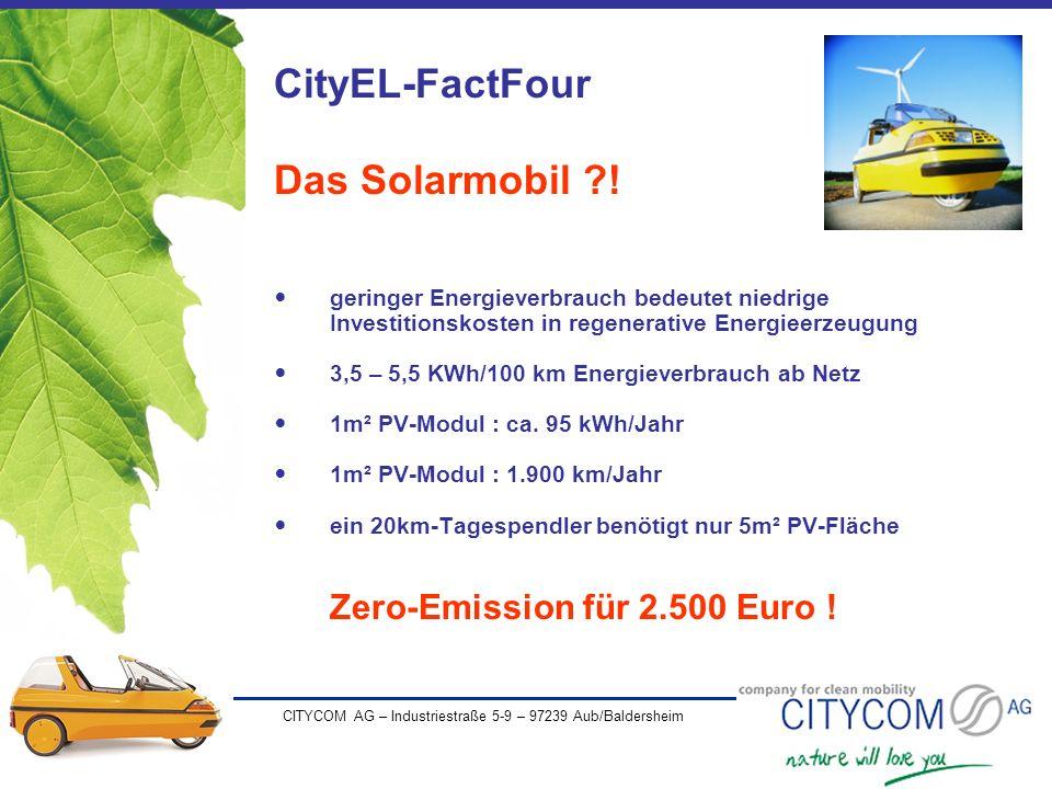 CityEL-FactFour Das Solarmobil ! Zero-Emission für 2.500 Euro !
