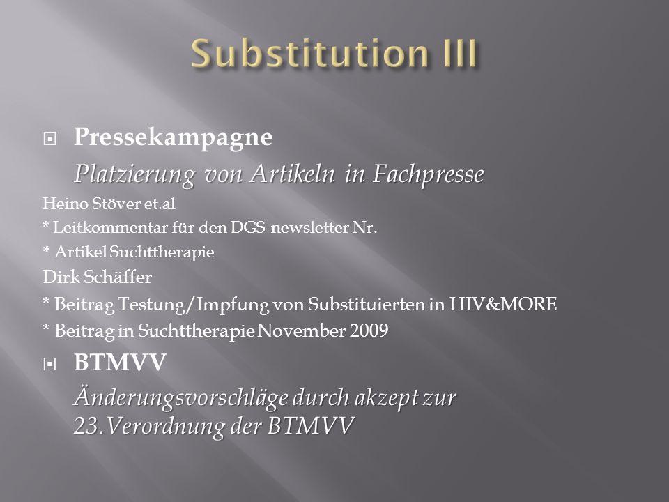 Substitution III Pressekampagne Platzierung von Artikeln in Fachpresse