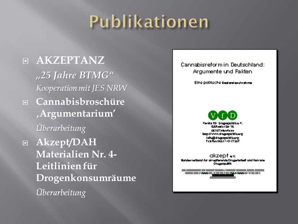 Publikationen AKZEPTANZ Cannabisbroschüre 'Argumentarium'