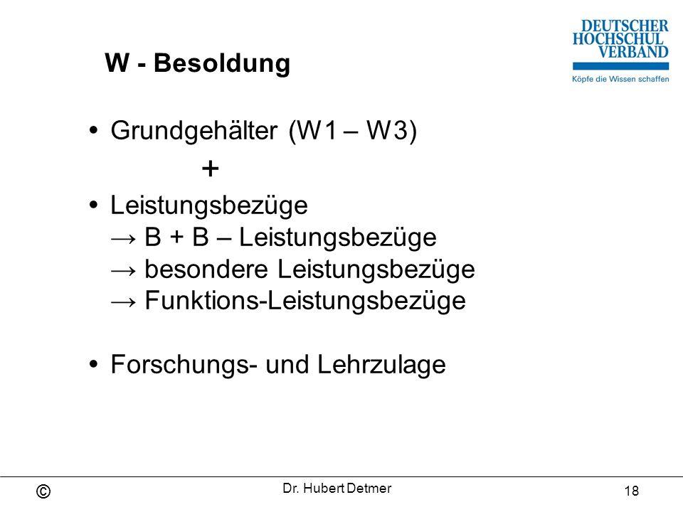 Grundgehälter (W1 – W3) +  Leistungsbezüge