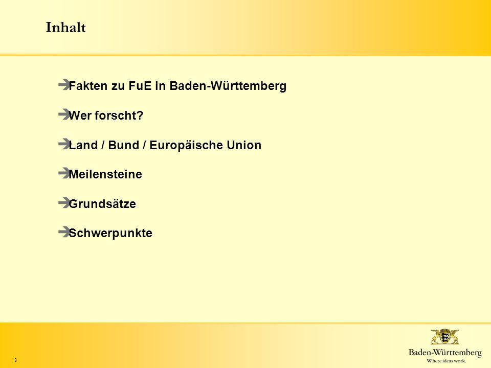Inhalt Fakten zu FuE in Baden-Württemberg Wer forscht