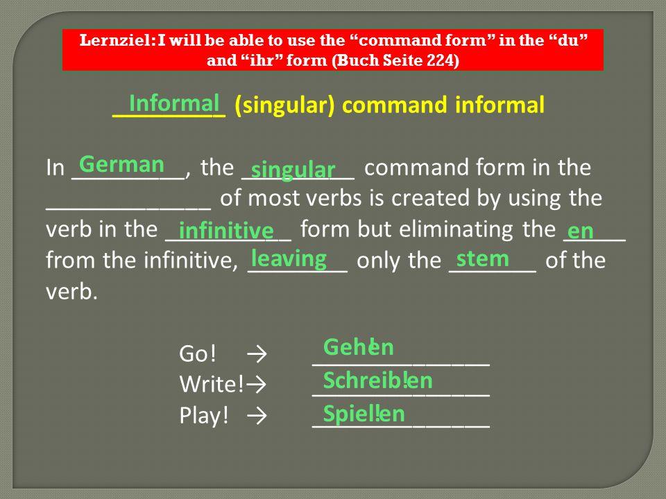 _________ (singular) command informal