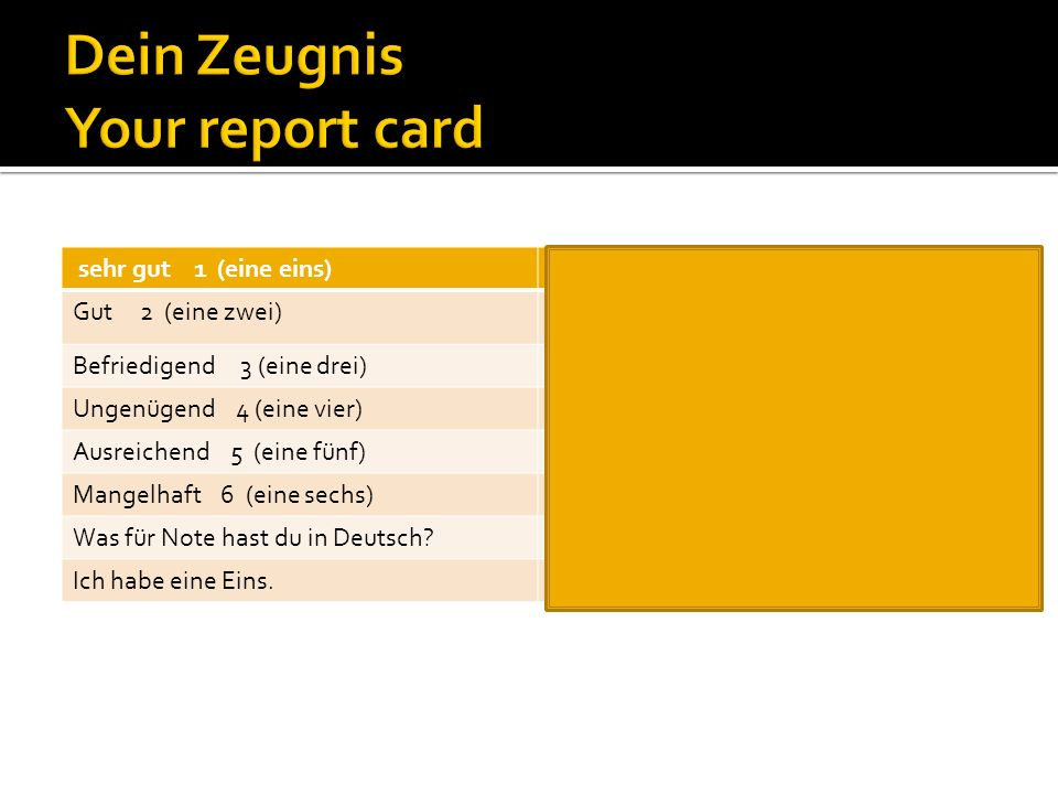 Dein Zeugnis Your report card