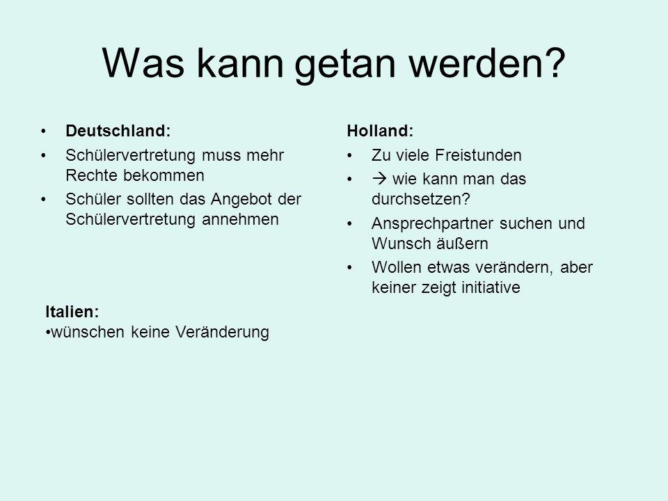 Was kann getan werden Deutschland: