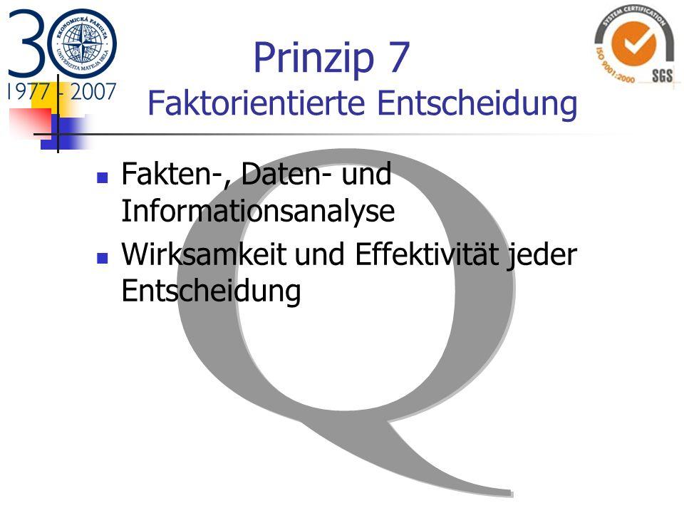 Prinzip 7 Faktorientierte Entscheidung