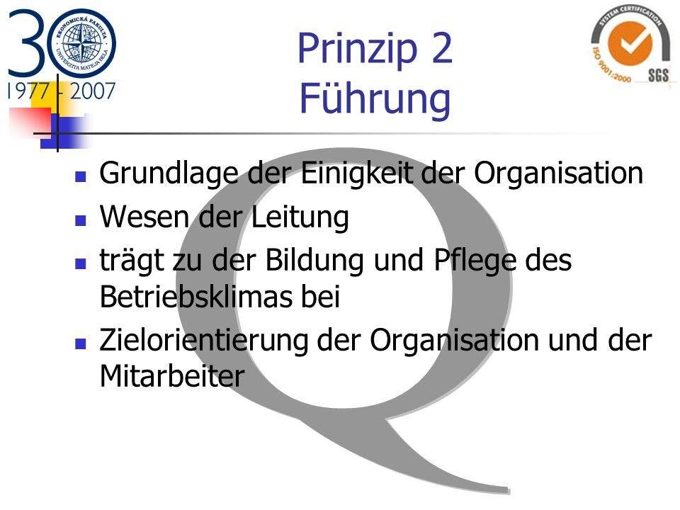 Prinzip 2 Führung Grundlage der Einigkeit der Organisation