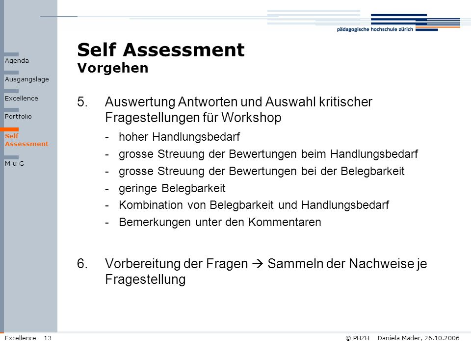 Self Assessment Vorgehen