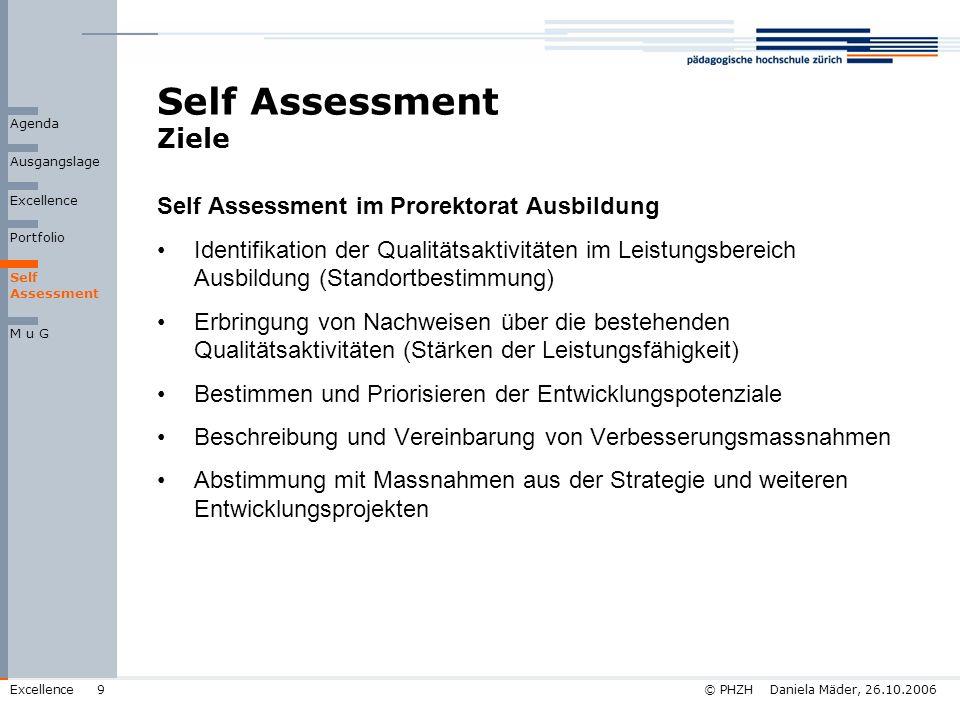 Self Assessment Ziele Self Assessment im Prorektorat Ausbildung