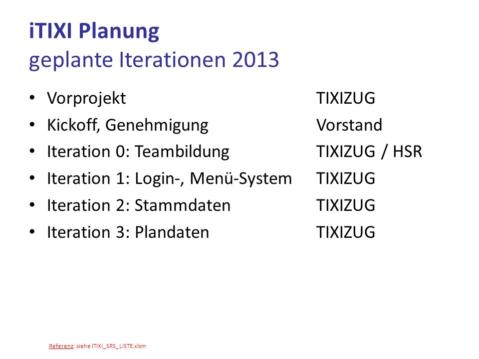 iTIXI Planung geplante Iterationen 2013