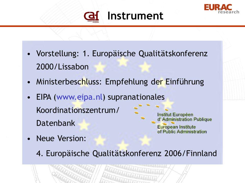 Instrument Vorstellung: 1. Europäische Qualitätskonferenz 2000/Lissabon. Ministerbeschluss: Empfehlung der Einführung.