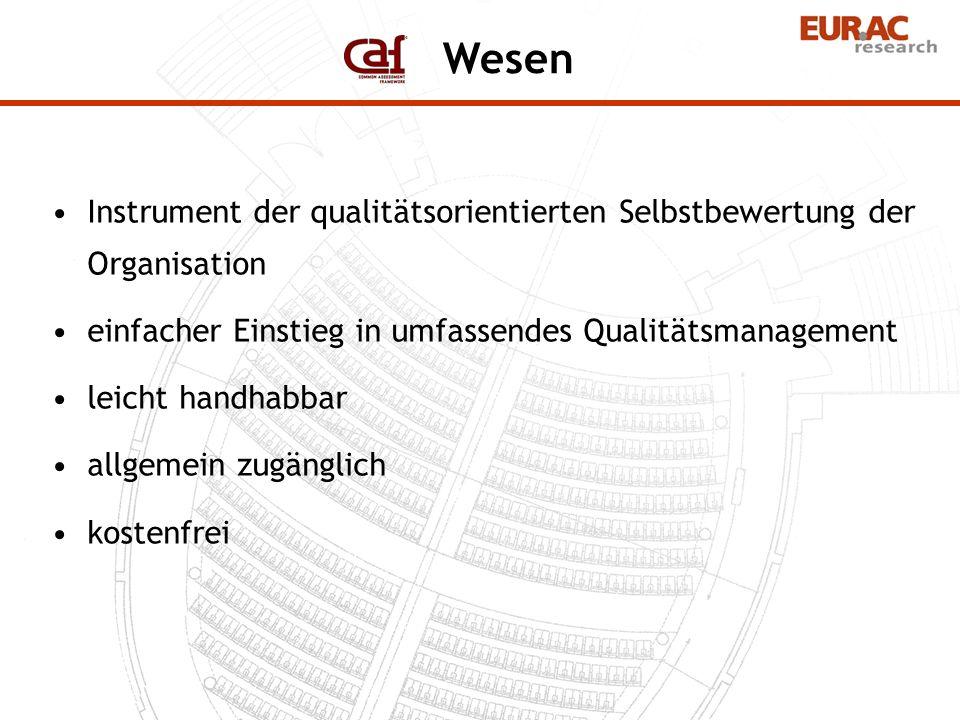 WesenInstrument der qualitätsorientierten Selbstbewertung der Organisation. einfacher Einstieg in umfassendes Qualitätsmanagement.