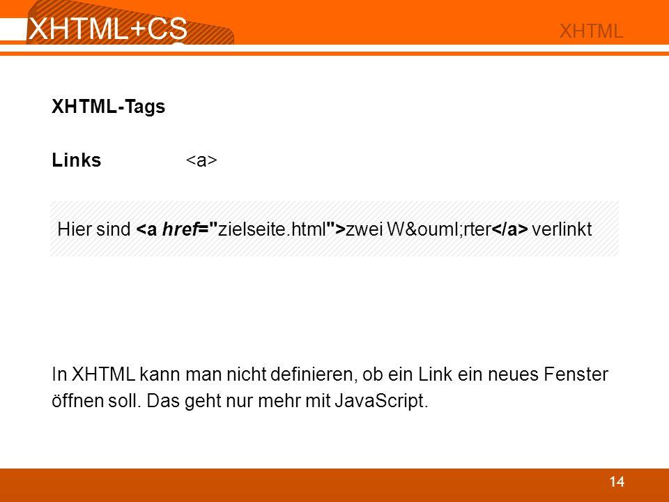 XHTML+CSS XHTML+CSS XHTML XHTML XHTML-Tags Links <a>
