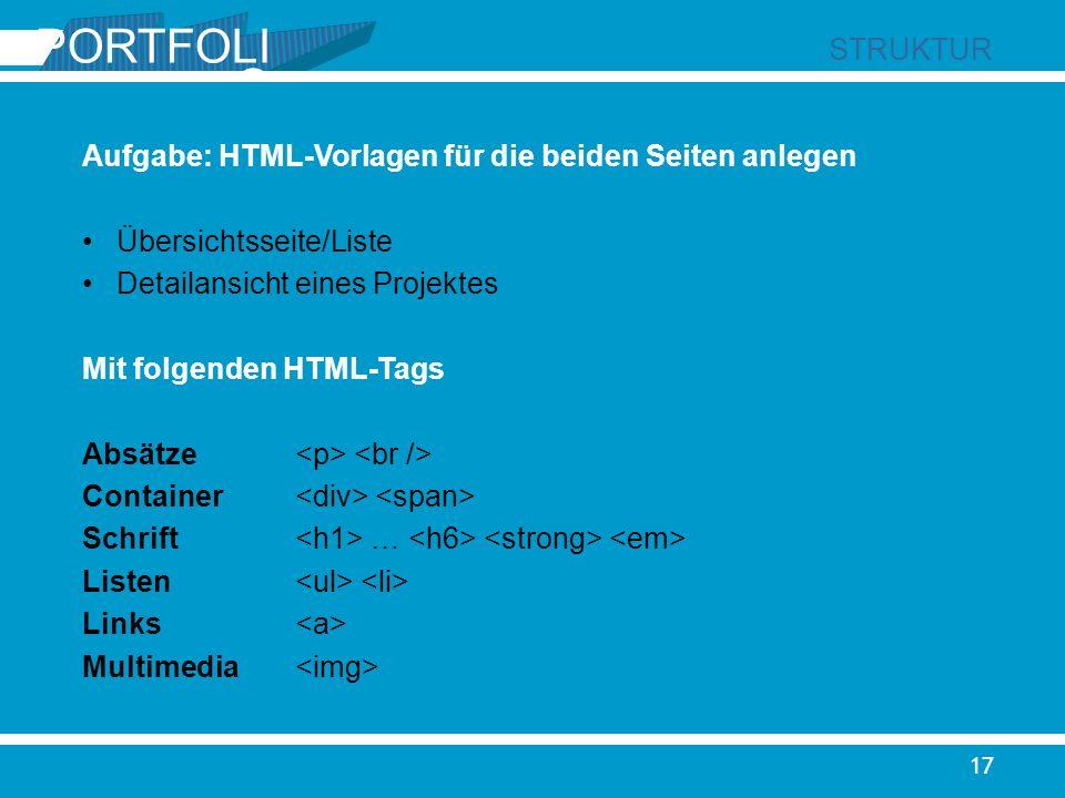 PORTFOLIO STRUKTUR. Aufgabe: HTML-Vorlagen für die beiden Seiten anlegen. Übersichtsseite/Liste. Detailansicht eines Projektes.