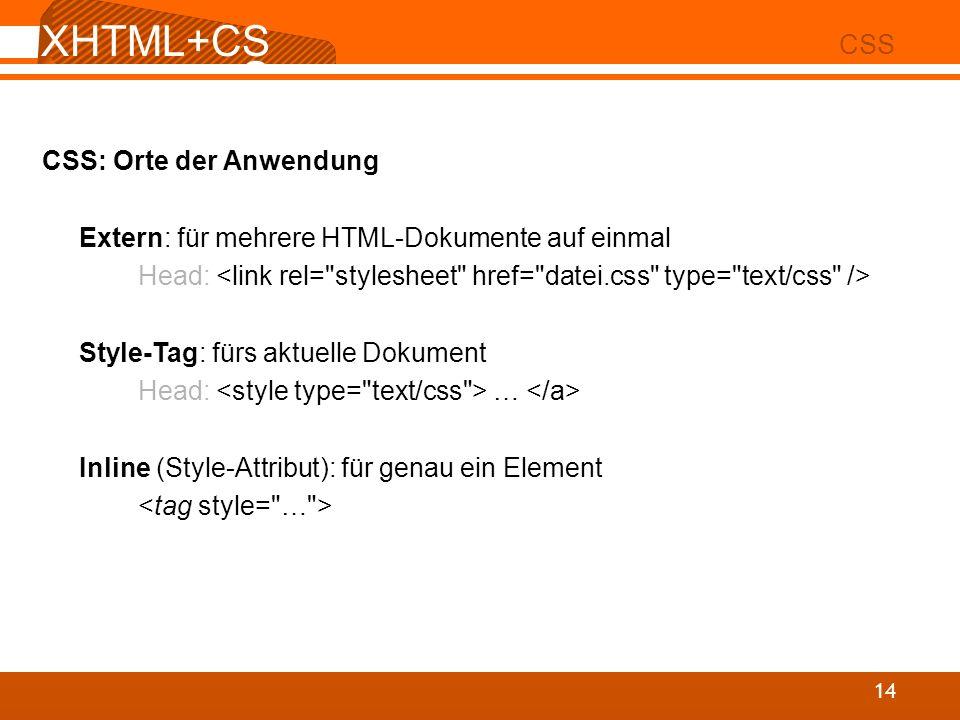 XHTML+CSS CSS CSS: Orte der Anwendung